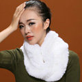 Knitted Rex rabbit fur scarf women winter warm female Circle neck wrap - White
