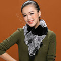 Knitted Rex rabbit fur scarf women winter warm scarves female neck wrap - Black Grey