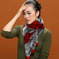 Knitted Rex rabbit fur scarf women winter warm scarves female neck wrap - Black Red