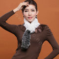 Knitted Rex rabbit fur scarf women winter warm scarves female neck wrap - Black White