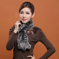 Knitted Rex rabbit fur scarf women winter warm scarves female neck wrap - Black