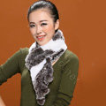 Knitted Rex rabbit fur scarf women winter warm scarves female neck wrap - Coffee White