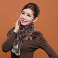 Knitted Rex rabbit fur scarf women winter warm scarves female neck wrap - Coffee