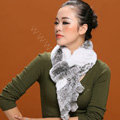 Knitted Rex rabbit fur scarf women winter warm scarves female neck wrap - Grey White