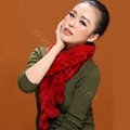 Knitted Rex rabbit fur scarf women winter warm scarves female neck wrap - Red