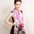 Luxury autumn and winter female 100% mulberry silk flower print scarf shawl wrap - Pink