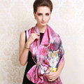 Luxury autumn and winter female 100% mulberry silk flowers print scarf shawl wrap - Purple
