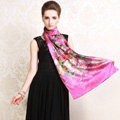 Luxury autumn and winter female 100% mulberry silk flowers print scarf shawl wrap - Rose