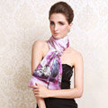 Luxury autumn and winter female 100% mulberry silk flowers print scarf shawl wrap - light purple