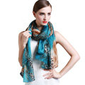 Luxury autumn and winter female 100% mulberry silk leopard print scarf shawl wrap - Blue
