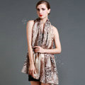 Luxury autumn and winter female 100% mulberry silk leopard print scarf shawl wrap - Coffee