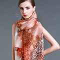 Luxury autumn and winter female 100% mulberry silk leopard print scarf shawl wrap - Orange
