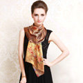 Luxury autumn and winter female flower 100% mulberry silk print scarf shawl wrap - Gold