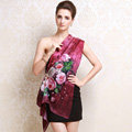 Luxury autumn and winter female flower 100% mulberry silk print scarf shawl wrap - Rose