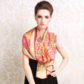 Luxury autumn and winter female long 100% mulberry silk print scarf shawl wrap - Beige