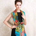 Luxury autumn and winter female long 100% mulberry silk print scarf shawl wrap - Blue