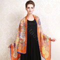 Luxury autumn and winter female long 100% mulberry silk print scarf shawl wrap - Orange