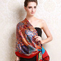 Luxury autumn and winter female long 100% mulberry silk print scarf shawl wrap - Red