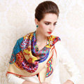 Luxury women autumn and winter 100% mulberry silk floral print scarf shawl wrap - Beige