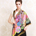 Luxury women autumn and winter 100% mulberry silk floral print scarf shawl wrap - Black