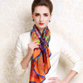 Luxury women autumn and winter 100% mulberry silk floral print scarf shawl wrap - Orange