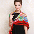 Luxury women autumn and winter 100% mulberry silk floral print scarf shawl wrap - Red
