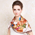Luxury women autumn and winter 100% mulberry silk square floral print scarf shawl - Apricot