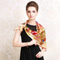 Luxury women autumn and winter 100% mulberry silk square floral print scarf shawl - Beige