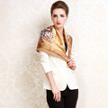 Luxury women autumn and winter 100% mulberry silk square floral print scarf shawl - Gold