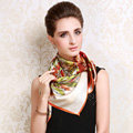 Luxury women autumn and winter 100% mulberry silk square floral print scarf shawl - Orange