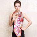 Luxury women autumn and winter 100% mulberry silk square floral print scarf shawl - Pink