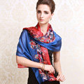 Luxury women autumn and winter long 100% mulberry silk floral print scarf shawl wrap - Blue