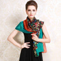 Luxury women autumn and winter long 100% mulberry silk floral print scarf shawl wrap - Green