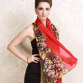 Luxury women autumn and winter long 100% mulberry silk floral print scarf shawl wrap - Red