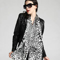 Luxury women autumn and winter long 100% mulberry silk leopard print scarf shawl - Black