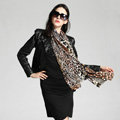 Luxury women autumn and winter long 100% mulberry silk leopard print scarf shawl - Coffee