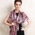 Luxury women autumn and winter long 100% mulberry silk leopard print scarf shawl - Pink