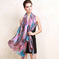 Luxury women autumn and winter long 100% mulberry silk leopard print scarf shawl - Purple