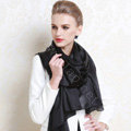 Luxury women autumn and winter long 100% mulberry silk solid color scarf shawl wrap - Black