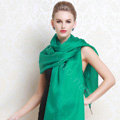 Luxury women autumn and winter long 100% mulberry silk solid color scarf shawl wrap - Green