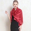 Luxury women autumn and winter long 100% mulberry silk solid color scarf shawl wrap - Red