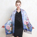 Luxury women autumn and winter warm long 100% mulberry silk flower print scarf shawl wrap - Blue