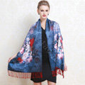 Luxury women autumn and winter warm long 100% mulberry silk flower print scarf shawl wrap - Dark blue