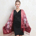 Luxury women autumn and winter warm long 100% mulberry silk flower print scarf shawl wrap - Dark red