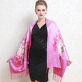 Luxury women autumn and winter warm long 100% mulberry silk flower print scarf shawl wrap - Pink
