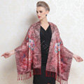 Luxury women autumn and winter warm long 100% mulberry silk flower print scarf shawl wrap - Red