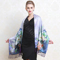 Luxury women autumn and winter warm long 100% mulberry silk flower print scarf shawl wrap - Sky blue