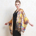 Luxury women autumn and winter warm long 100% mulberry silk flower print scarf shawl wrap - Yellow