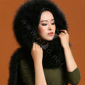 Ostrich wool fur scarf vogue women winter warm hats Headscarf neck wraps - Black