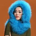 Ostrich wool fur scarf vogue women winter warm hats Headscarf neck wraps - Blue